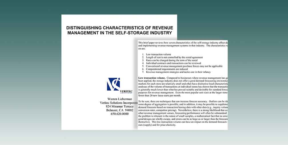 Distinguishing Characteristics Of Revenue Management In The Self-Storage Industry